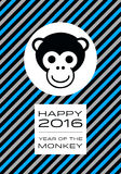 Happy 2016 - Year of the Monkey. Banner with a striped diagonal pattern, celebrating the year of the monkey in Chinese Zodiac Stock Images