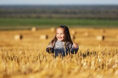 Happy 2 year old girl walking in a summer harvested field Stock Photography