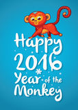 Happy 2016 Year of the Red Monkey. Funny cartoon monkey. New Year illustration with red cartoon monkey - symbol of 2016 year Stock Image