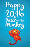 Happy 2016 Year of the Red Monkey. Funny cartoon monkey. New Year illustration with red cartoon monkey - symbol of 2016 year. Vector illustartion Royalty Free Stock Photo