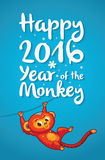 Happy 2016 Year of the Red Monkey. Funny cartoon monkey. New Year illustration with red cartoon monkey - symbol of 2016 year. Vector illustration Royalty Free Stock Photos