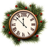 Happy 2016 year. Vintage clock Stock Images