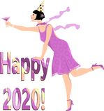 Happy 2020 year. Woman in a flapper outfit standing over Happy 2020 banner with a glass of campaign, EPS 8 vector illustration vector illustration
