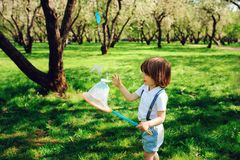 Happy 3 years old child boy catching butterflies with net on the walk in sunny garden or park. Spring and summer outdoor activities, happy childhood concept Royalty Free Stock Photo