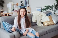 happy 10 years old kid or preteen girl relaxing at home. Stock Photography