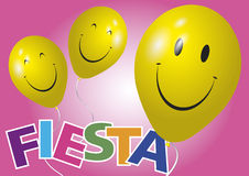 Happy yellow balloons fiesta. Two happy and smiling yellow baloons. Fiesta vector illustration