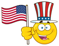 Happy Yellow Cartoon Emoji Face Character Wearing A Top Hat And Waving An American Flag stock illustration