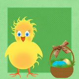 Happy Yellow Chick Illustration - Easter Basket Stock Images