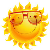 Happy yellow happy smiling shinny sun cartoon character with sun. Shining yellow smiling sun cartoon character wearing eye glasses as weather sign temperature Royalty Free Stock Photos