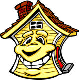 Happy Yellow House with Smiling Face Cartoon. Cartoon Image of a Happy Smiling House Royalty Free Stock Images