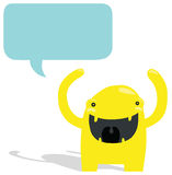 Happy Yellow Monster with Speech Bubble Royalty Free Stock Image