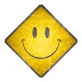 Happy Yellow Road Sign Stock Photo