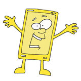 Happy Yellow Smartphone Cartoon Character. Talking Phone Something tells us , Smiling Yellow Phone Royalty Free Stock Image