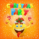 Happy yellow smile face. Christmas party concept Royalty Free Stock Photo