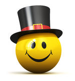 Happy yellow smiley emoticon in black hat Stock Image