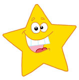 Happy yellow star smiling. Hyper, happy yellow star smiling and showing his teeth Royalty Free Stock Images