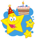 Happy yellow stars with a birthday cake over blue Stock Photo