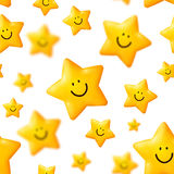 Happy yellow stars vector seamless pattern Royalty Free Stock Photo