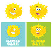 Happy Yellow Sun Cartoon Emoji Face Character Giving Thumbs Up. Flat Design Royalty Free Stock Photography