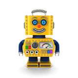 Happy yellow vintage toy robot smiling Stock Image