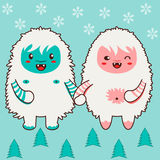 Happy yeti couple holding hands. Single tile. Single tile of a winter holiday texture, pattern or background. Cute chibi yeti couple in flat style, surrounded by Stock Photo
