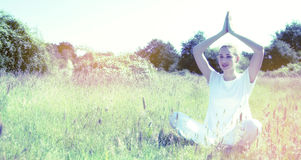 Happy yoga girl for inner beauty, contrast and soft filters Royalty Free Stock Photo