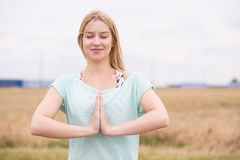 Happy yoga practicioner Royalty Free Stock Image