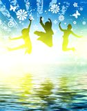 Happy and young. Girls jumping vector illustration