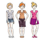 Happy young adult girls female standing in stylish casual clothe. S. Vector characters set Royalty Free Stock Photography