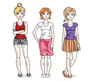 Happy young adult girls female standing in stylish casual clothe. S. Vector characters set Stock Photos