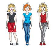 Happy young adult girls group standing wearing casual clothes. V. Ector people illustrations set Royalty Free Stock Photo
