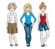 Happy young adult girls group standing wearing fashionable casua. L clothes. Vector people illustrations set Royalty Free Stock Photo