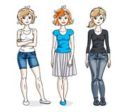 Happy young adult girls group standing wearing fashionable casua. L clothes. Vector people illustrations set Stock Images