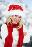 Happy young adult woman at winter Royalty Free Stock Photo