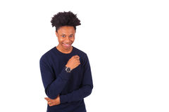 Happy young african american man isolated on white background - Royalty Free Stock Photo