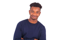 Happy young african american man isolated on white background -. Black people Royalty Free Stock Photo