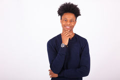 Happy young african american man on white background -. Black people Stock Photos