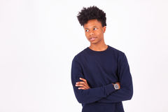 Happy young african american man  on white background - Stock Image