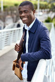 Happy young african man stock photos