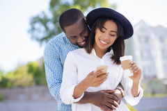 Happy young ambitious couple on a date Stock Image
