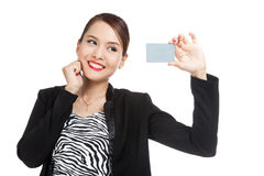 Happy young Asian business woman with a blank card Stock Images