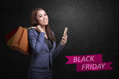 Happy young asian business woman shopping Royalty Free Stock Photography