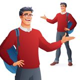 Happy college student in glasses presenting. Isolated vector illustration. royalty free illustration