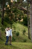 Couple enjoying walk in nature royalty free stock images