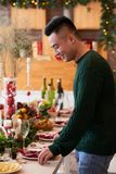 Serving table for Christmas stock photos
