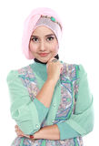 Happy young asian muslim woman in action Royalty Free Stock Photo
