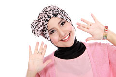 Happy of young asian muslim woman in head scarf smile Royalty Free Stock Photography