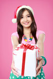 Happy young asian woman bring gift boxes Stock Photos