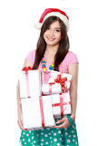 Happy young asian woman bring gift boxes. Portrait of smiling young woman holding some gift boxes Stock Image
