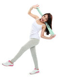 Happy young asian woman doing exercise Stock Images